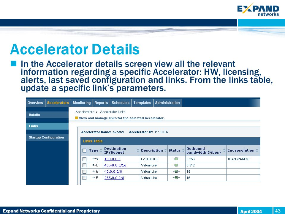 Expand Networks Confidential and Proprietary 43 April 2004 Accelerator Details In the Accelerator details screen view all the relevant information regarding a specific Accelerator: HW, licensing, alerts, last saved configuration and links.