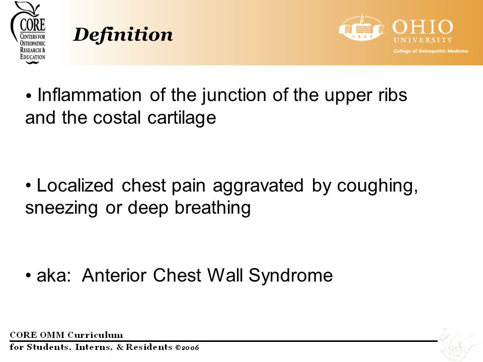 Causes of Costochondritis –Causes of costochondritis are not known and may involve several factors.