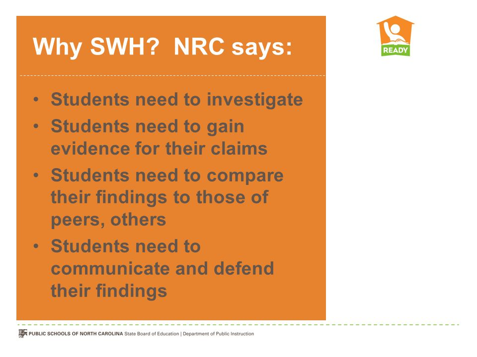 Why SWH? NRC says: Students need to investigate Students need to gain evidence for their claims Students need to compare their findings to those of pe