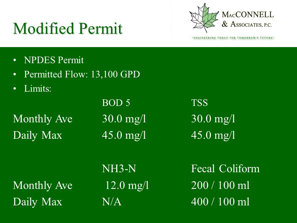 NPDES Permit Permitted Flow: 13,100 GPD Limits: BOD 5TSS Monthly Ave30.0 mg/l 30.0 mg/l Daily Max45.0 mg/l 45.0 mg/l NH3-N Fecal Coliform Monthly Ave 12.0 mg/l 200 / 100 ml Daily MaxN/A 400 / 100 ml Modified Permit