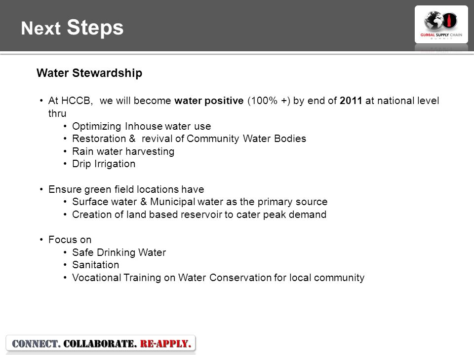 Water Stewardship At HCCB, we will become water positive (100% +) by end of 2011 at national level thru Optimizing Inhouse water use Restoration & revival of Community Water Bodies Rain water harvesting Drip Irrigation Ensure green field locations have Surface water & Municipal water as the primary source Creation of land based reservoir to cater peak demand Focus on Safe Drinking Water Sanitation Vocational Training on Water Conservation for local community Next Steps