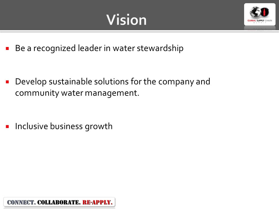 Vision  Be a recognized leader in water stewardship  Develop sustainable solutions for the company and community water management.