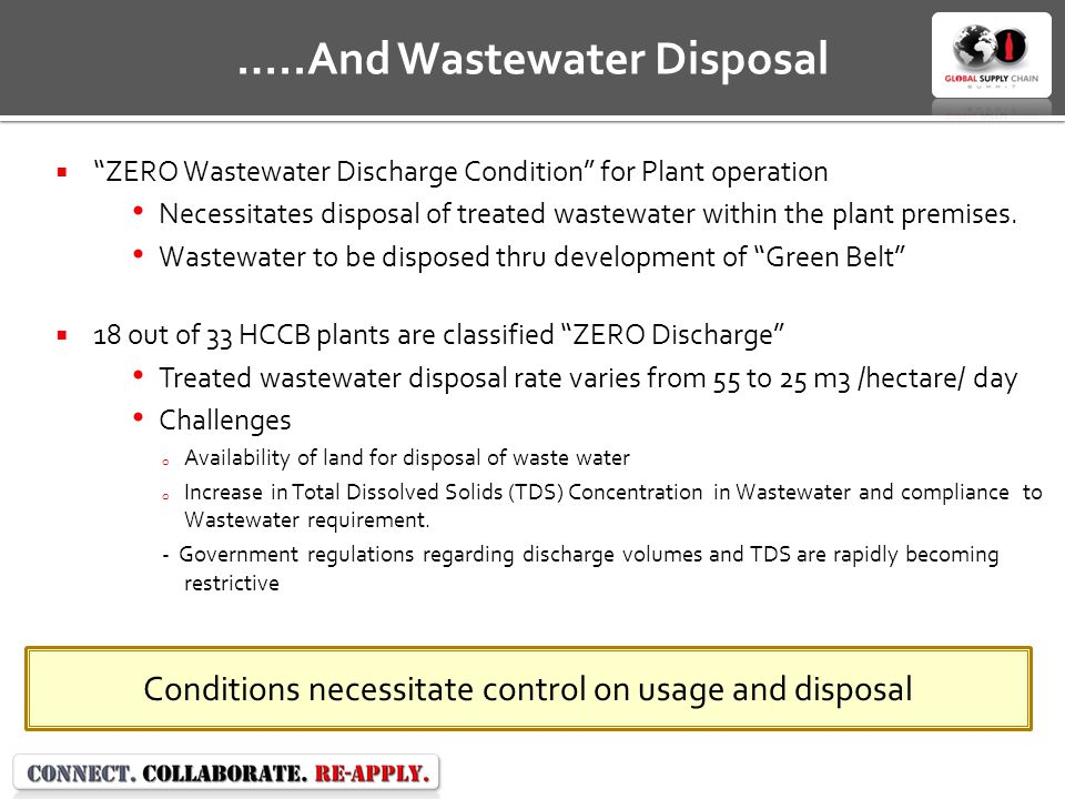 ZERO Wastewater Discharge Condition for Plant operation Necessitates disposal of treated wastewater within the plant premises.