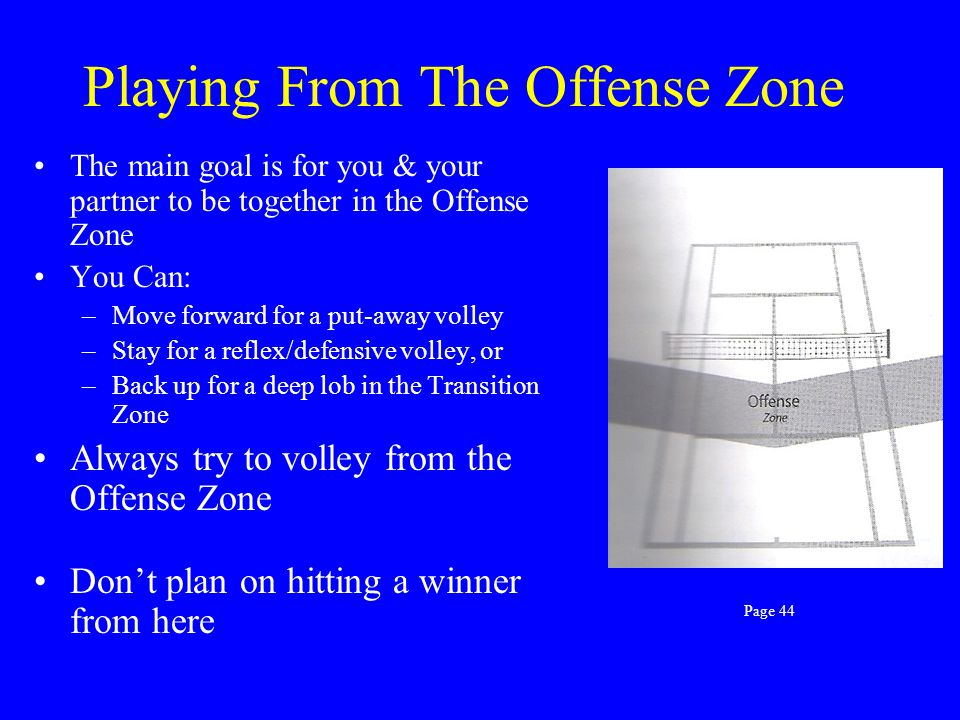What to Hit in the Transition Zone Don't depend on winning shots from here Build up the point, have patience Use your one shot to help you and your pa