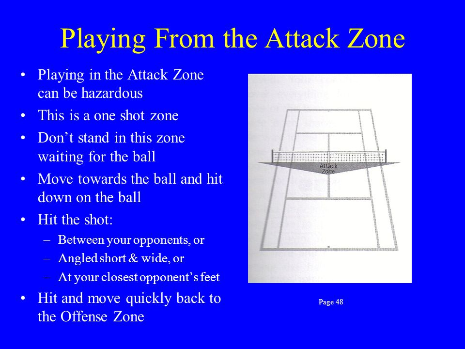 Playing From The Offense Zone The main goal is for you & your partner to be together in the Offense Zone You Can: –Move forward for a put-away volley
