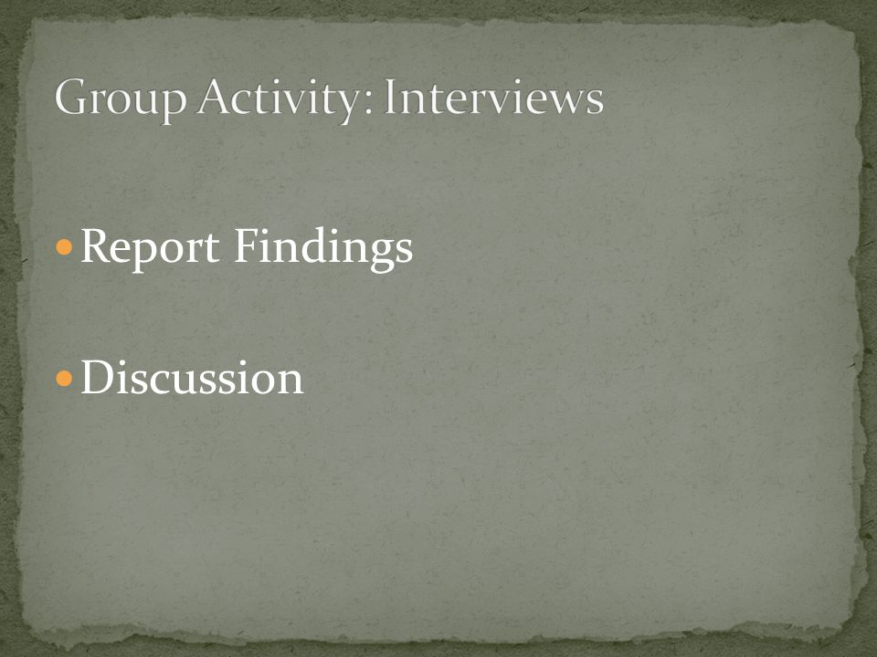 Report Findings Discussion