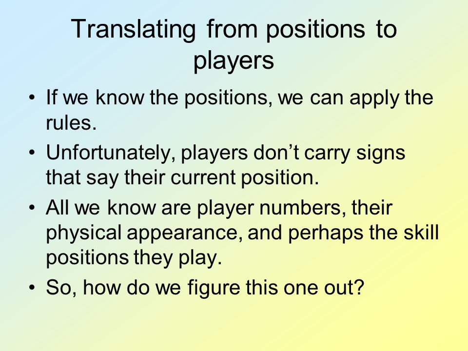 Translating from positions to players If we know the positions, we can apply the rules. Unfortunately, players don't carry signs that say their curren