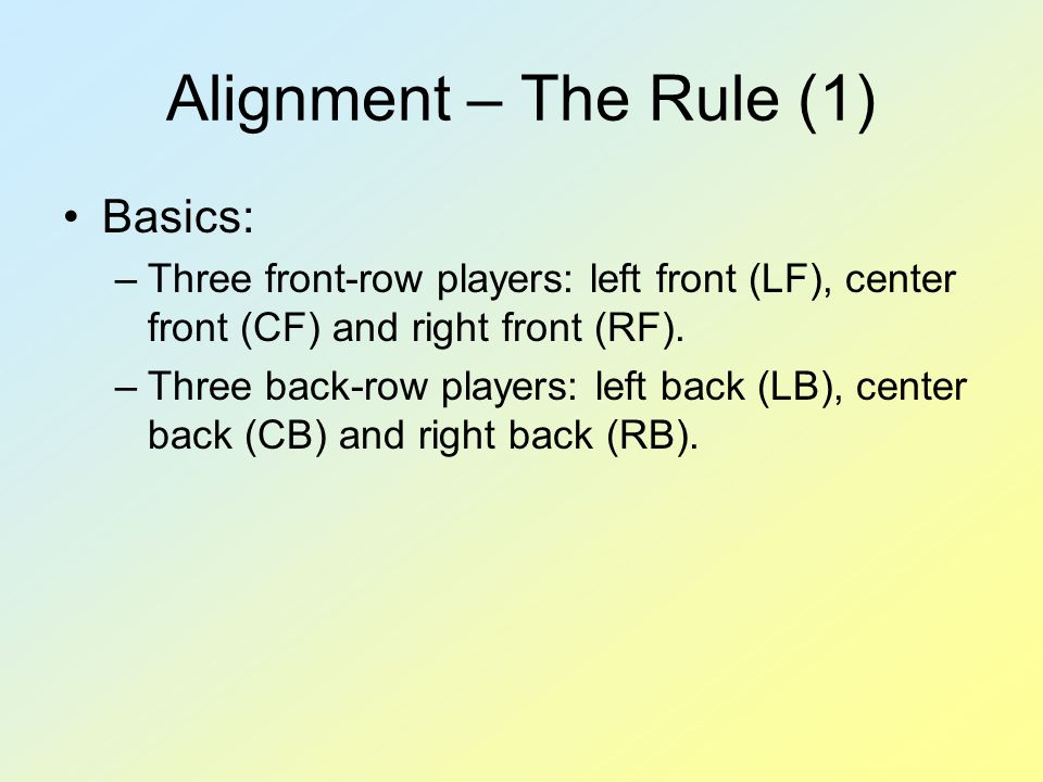 Alignment – The Rule (1) Basics: –Three front-row players: left front (LF), center front (CF) and right front (RF). –Three back-row players: left back