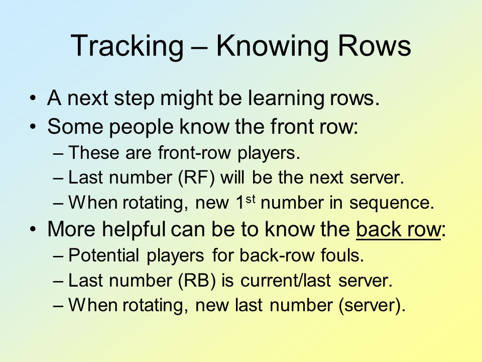 Tracking – Knowing Rows A next step might be learning rows. Some people know the front row: –These are front-row players. –Last number (RF) will be th