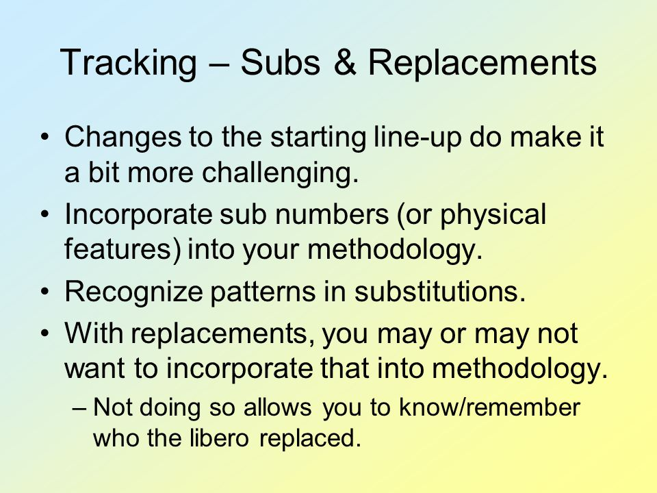 Tracking – Subs & Replacements Changes to the starting line-up do make it a bit more challenging.