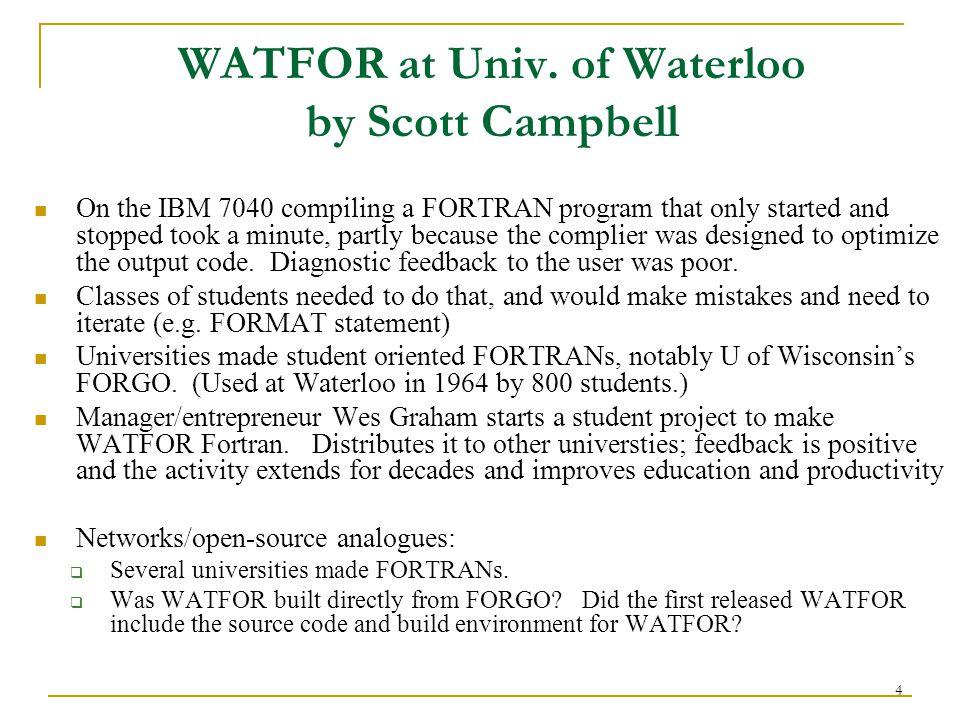4 WATFOR at Univ.