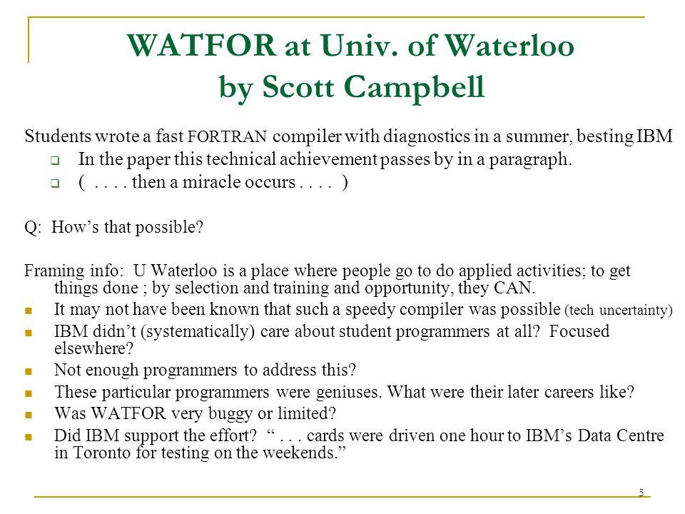 5 WATFOR at Univ.