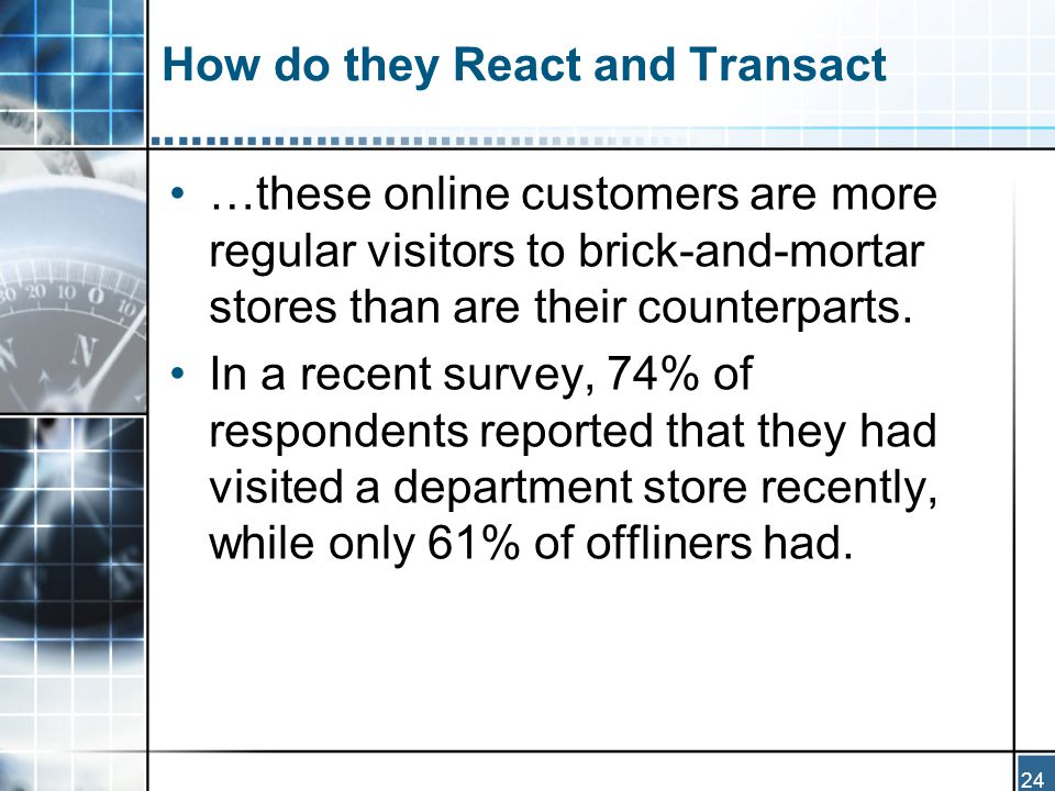 24 How do they React and Transact …these online customers are more regular visitors to brick-and-mortar stores than are their counterparts.