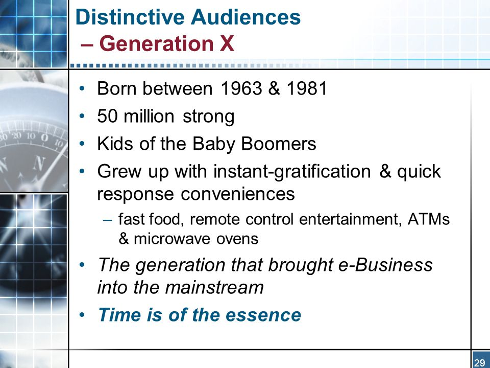 29 Distinctive Audiences – Generation X Born between 1963 & 1981 50 million strong Kids of the Baby Boomers Grew up with instant-gratification & quick response conveniences –fast food, remote control entertainment, ATMs & microwave ovens The generation that brought e-Business into the mainstream Time is of the essence