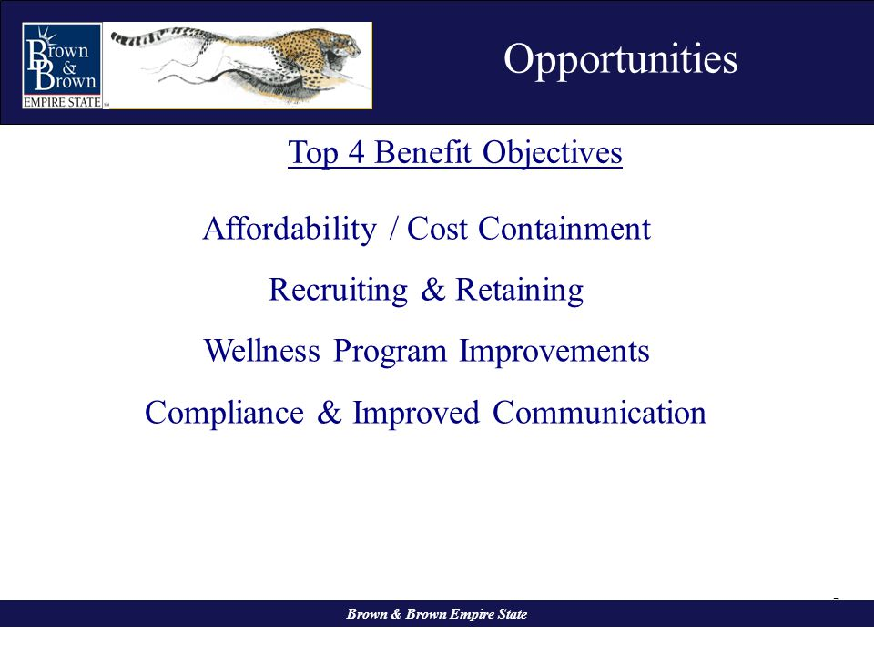 7 Opportunities Brown & Brown Empire State Affordability / Cost Containment Recruiting & Retaining Wellness Program Improvements Compliance & Improved