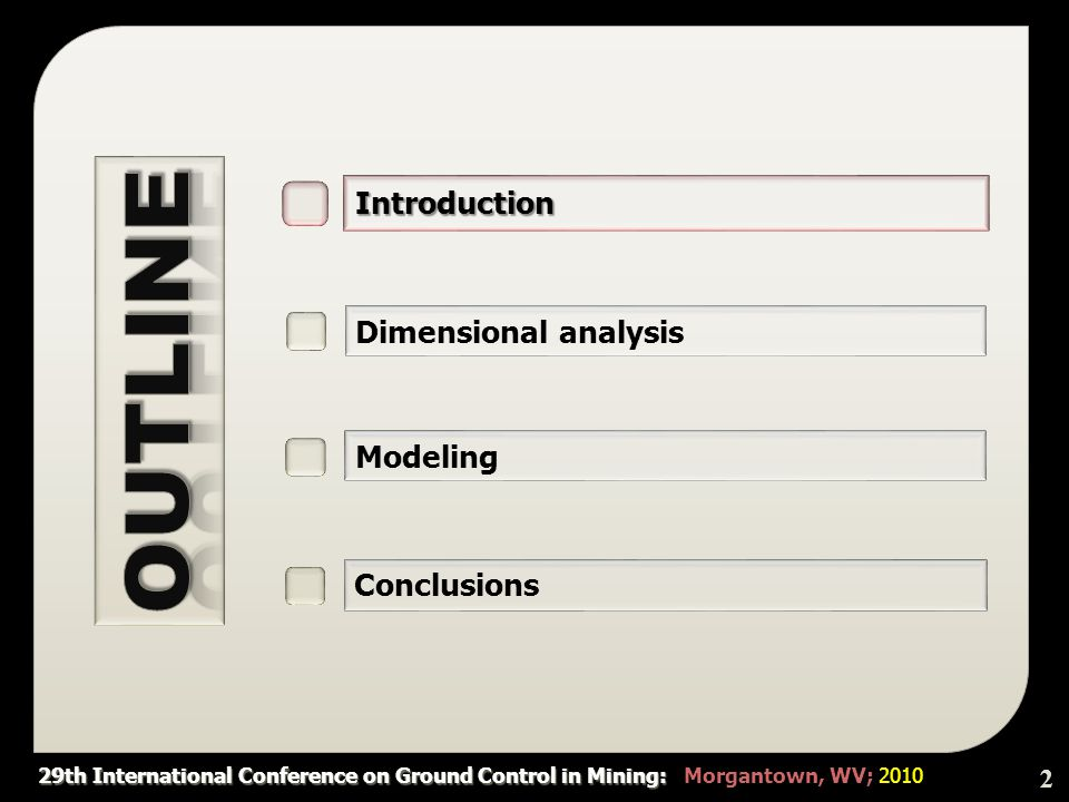 29th International Conference on Ground Control in Mining: 29th International Conference on Ground Control in Mining: Morgantown, WV; 2010  Assigning different values to each variable, the results of sensitivity analysis are shown in Figure 2.