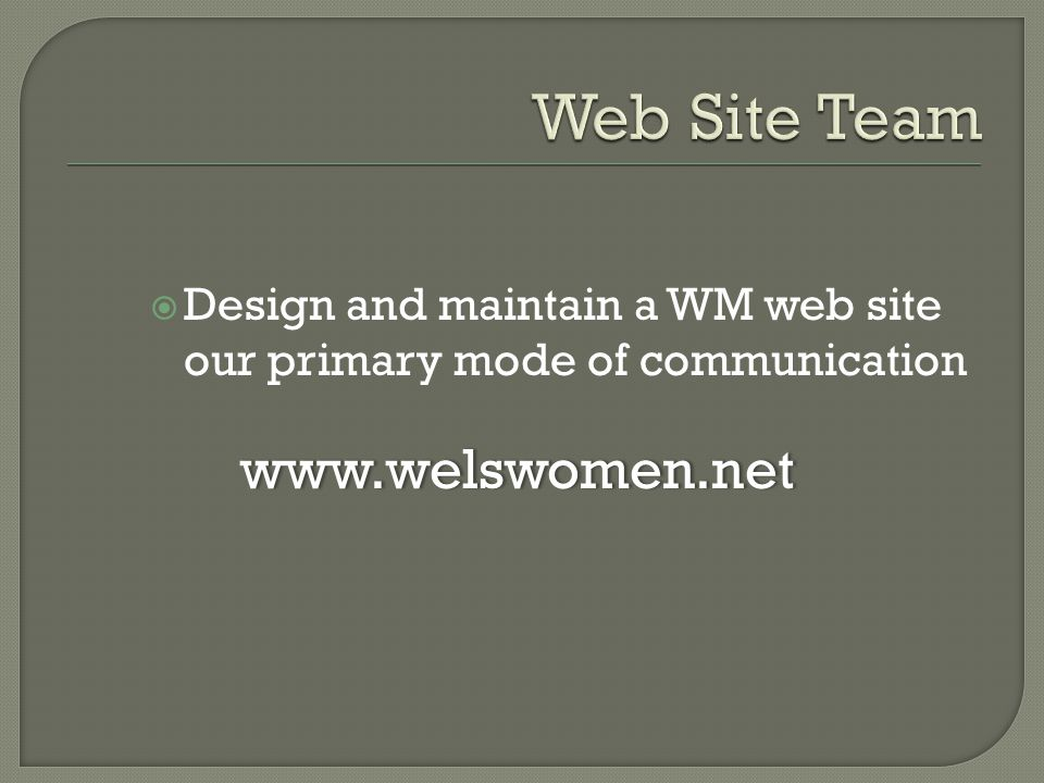  Design and maintain a WM web site our primary mode of communication www.welswomen.net