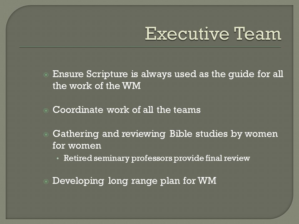  Ensure Scripture is always used as the guide for all the work of the WM  Coordinate work of all the teams  Gathering and reviewing Bible studies by women for women Retired seminary professors provide final review  Developing long range plan for WM