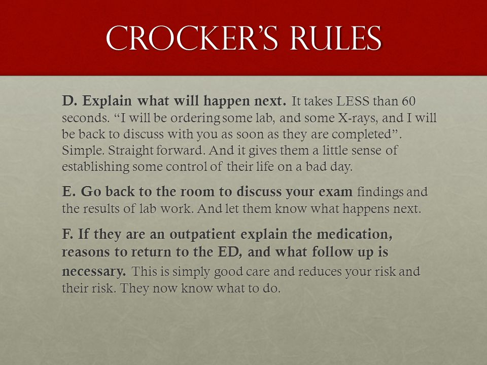 Crocker's Rules D. Explain what will happen next.