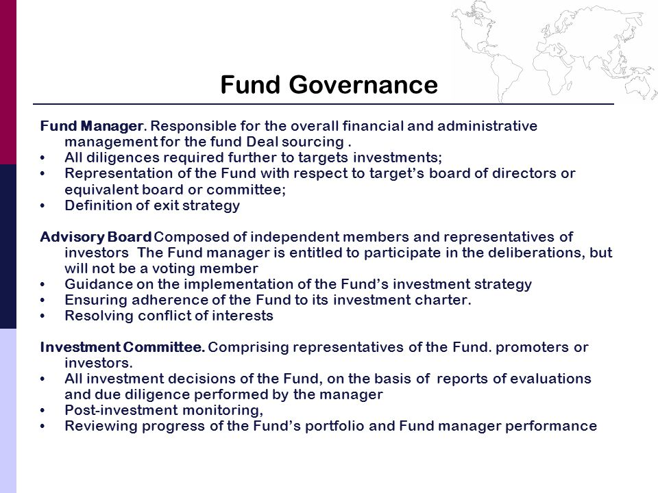 Fund Governance Fund Manager.