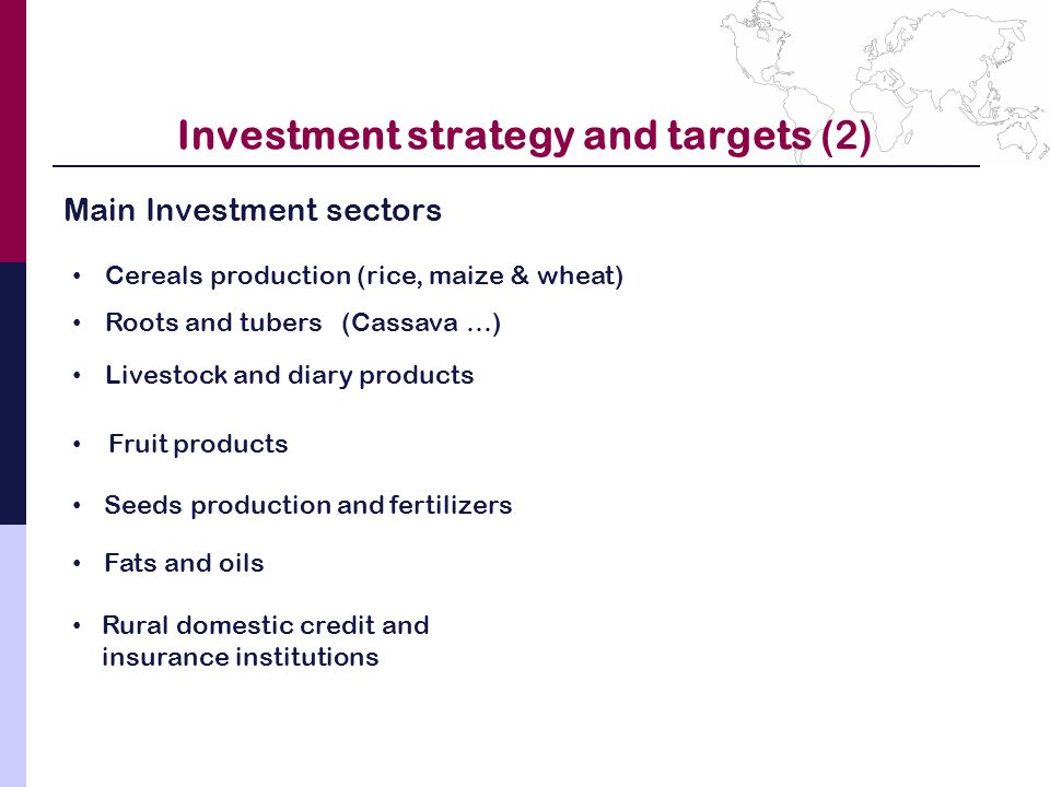 Investment strategy and targets (2) Main Investment sectors Cereals production (rice, maize & wheat) Roots and tubers (Cassava …) Livestock and diary products Fruit products Seeds production and fertilizers Fats and oils Rural domestic credit and insurance institutions