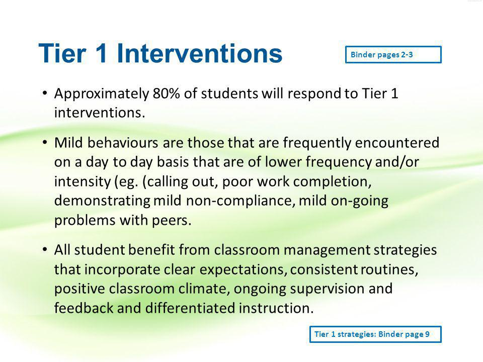 Tier 1 Interventions Approximately 80% of students will respond to Tier 1 interventions.
