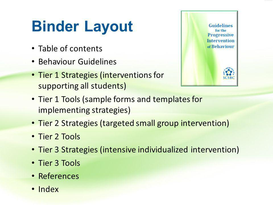 Binder Layout Table of contents Behaviour Guidelines Tier 1 Strategies (interventions for supporting all students) Tier 1 Tools (sample forms and templates for implementing strategies) Tier 2 Strategies (targeted small group intervention) Tier 2 Tools Tier 3 Strategies (intensive individualized intervention) Tier 3 Tools References Index