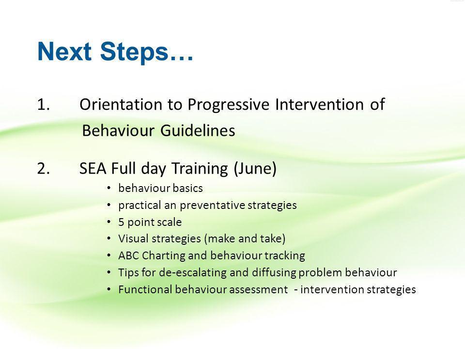 Next Steps… 1. Orientation to Progressive Intervention of Behaviour Guidelines 2.