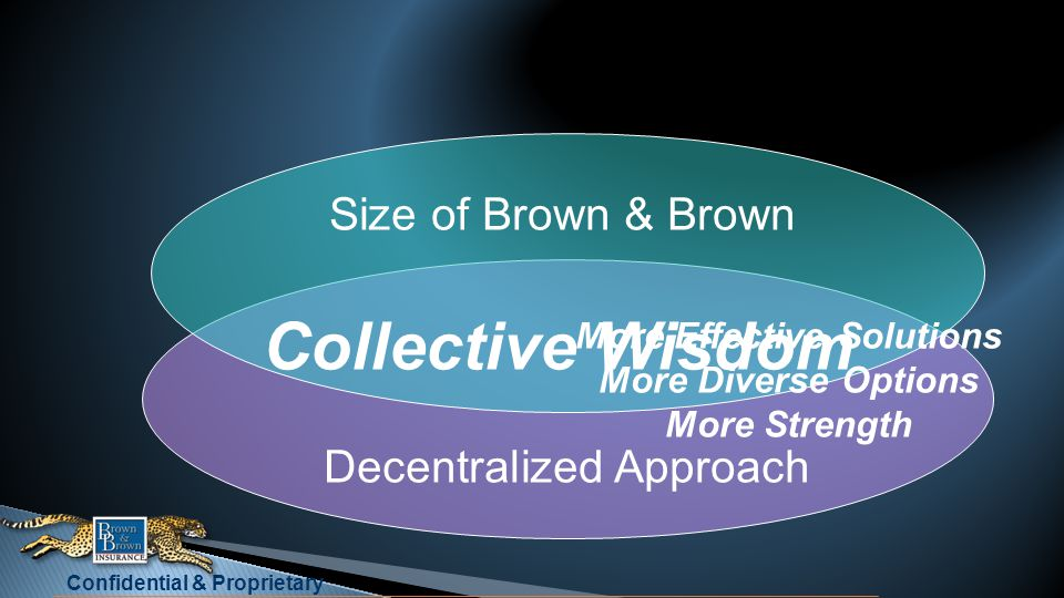 Confidential & Proprietary Size of Brown & Brown Collective Wisdom Decentralized Approach More Effective Solutions More Diverse Options More Strength