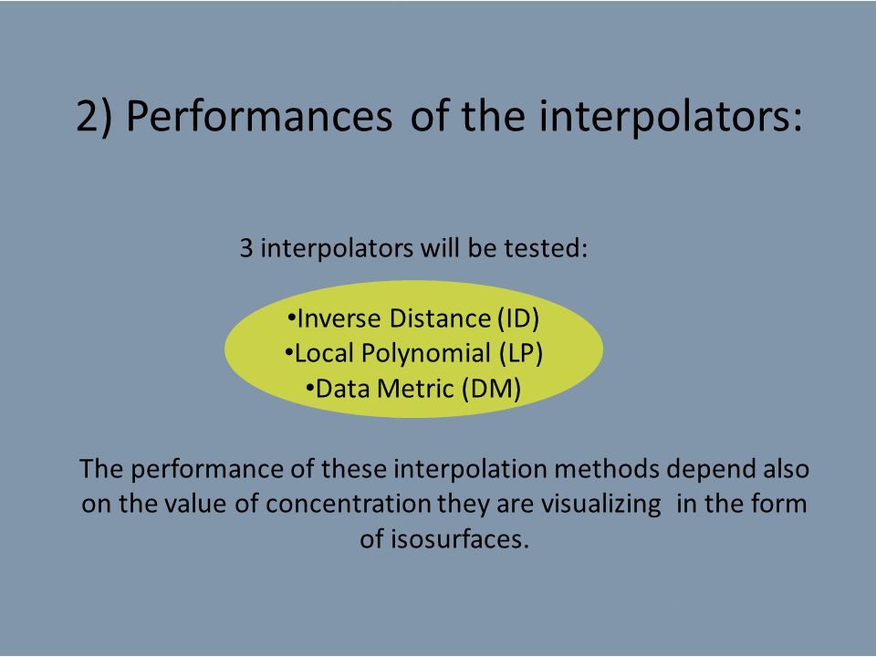 2) Performances of the interpolators: The performance of these interpolation methods depend also on the value of concentration they are visualizing in the form of isosurfaces.