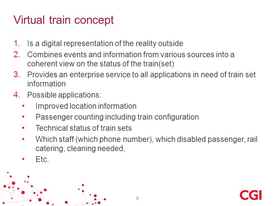 Virtual train concept 1. Is a digital representation of the reality outside 2.