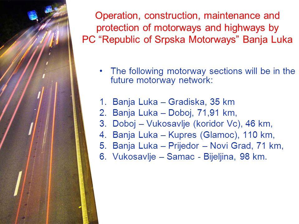 The following motorway sections will be in the future motorway network: 1.Banja Luka – Gradiska, 35 km 2.Banja Luka – Doboj, 71,91 km, 3.Doboj – Vukosavlje (koridor Vc), 46 km, 4.Banja Luka – Kupres (Glamoc), 110 km, 5.Banja Luka – Prijedor – Novi Grad, 71 km, 6.Vukosavlje – Samac - Bijeljina, 98 km.