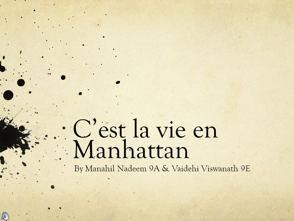 C'est la vie en Manhattan By Manahil Nadeem 9A & Vaidehi Viswanath 9E
