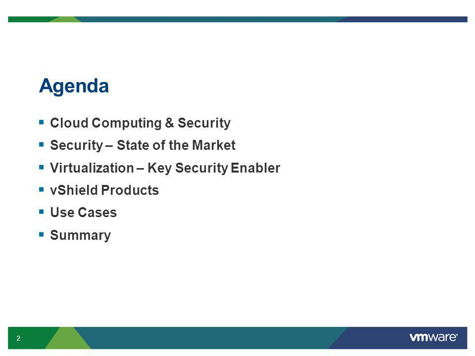 13 Confidential Agenda  Cloud Computing & Security  Security – State of the Market  Virtualization – Key Security Enabler  vShield Products  Use cases  Summary