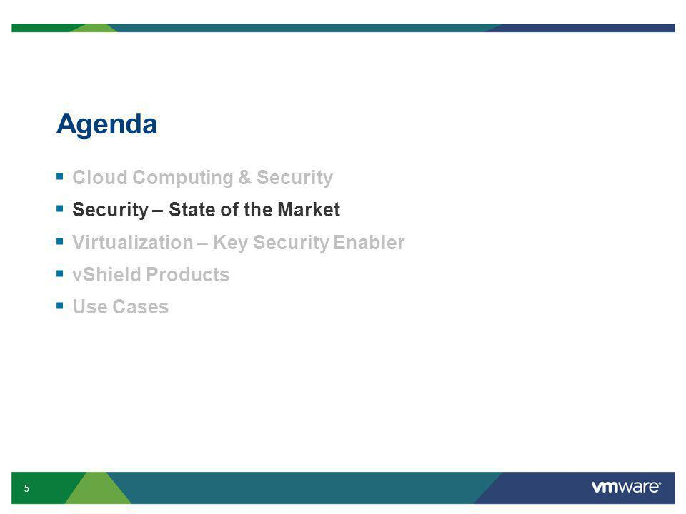 5 Confidential Agenda  Cloud Computing & Security  Security – State of the Market  Virtualization – Key Security Enabler  vShield Products  Use Cases