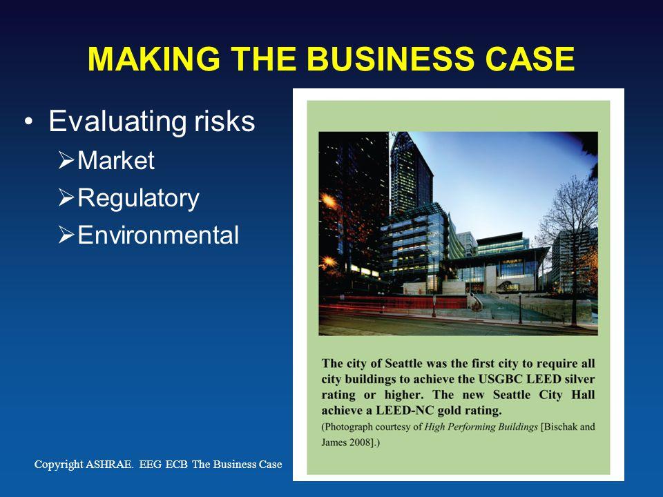 MAKING THE BUSINESS CASE Evaluating risks  Market  Regulatory  Environmental Copyright ASHRAE.