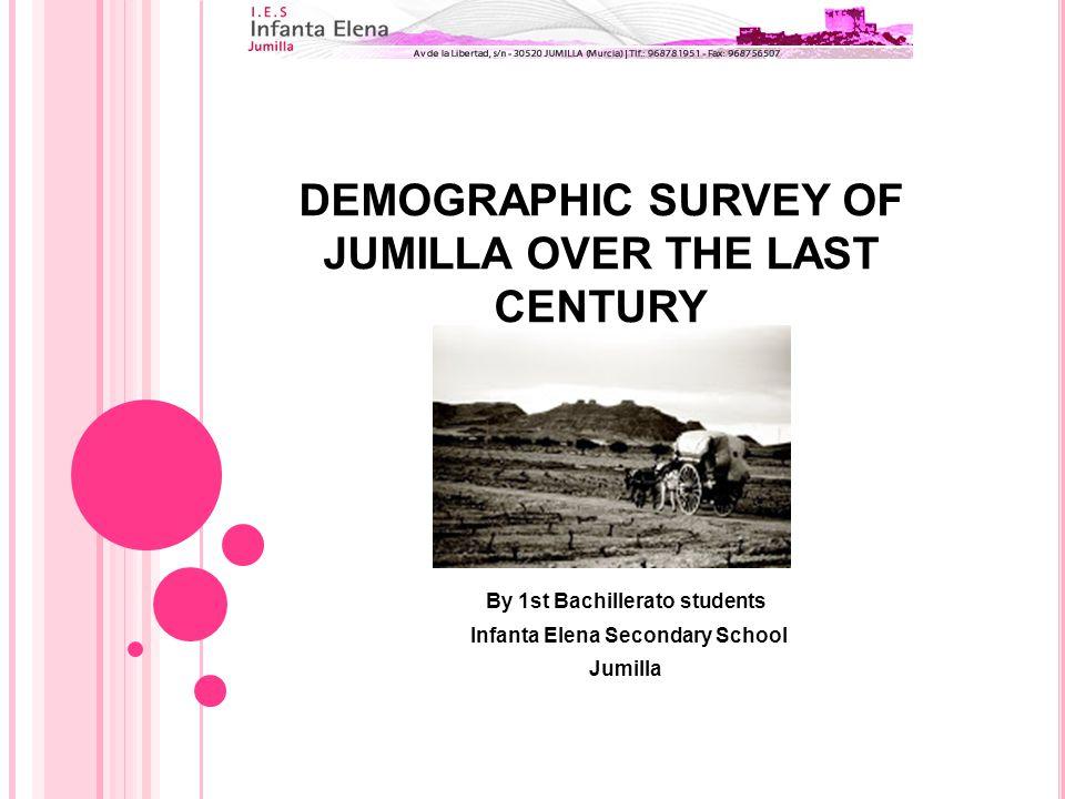 DEMOGRAPHIC SURVEY OF JUMILLA OVER THE LAST CENTURY By 1st Bachillerato students Infanta Elena Secondary School Jumilla