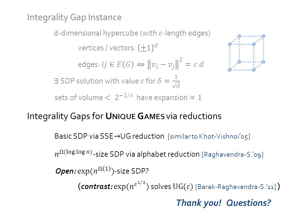 Integrality Gap Instance Integrality Gaps for U NIQUE G AMES via reductions Thank you!Questions