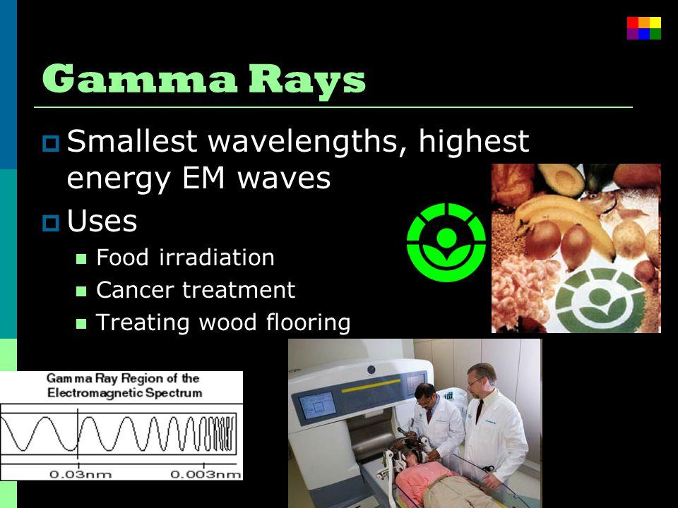 Gamma Rays  Smallest wavelengths, highest energy EM waves  Uses Food irradiation Cancer treatment Treating wood flooring