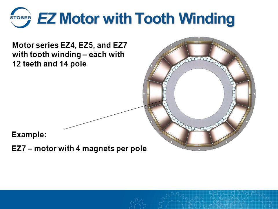 Motor series EZ4, EZ5, and EZ7 with tooth winding – each with 12 teeth and 14 pole Example: EZ7 – motor with 4 magnets per pole EZ Motor with Tooth Winding