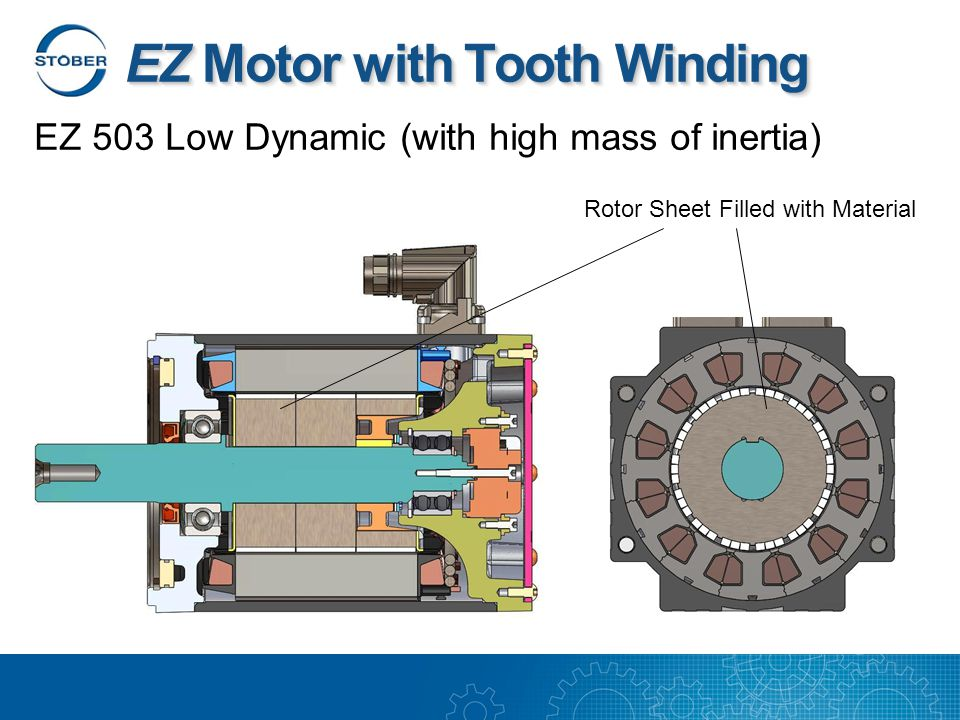 EZ Motor with Tooth Winding EZ 503 Low Dynamic (with high mass of inertia) Rotor Sheet Filled with Material