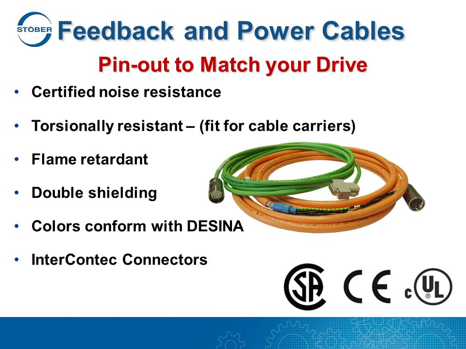 Feedback and Power Cables Certified noise resistance Torsionally resistant – (fit for cable carriers) Flame retardant Double shielding Colors conform with DESINA InterContec Connectors Pin-out to Match your Drive