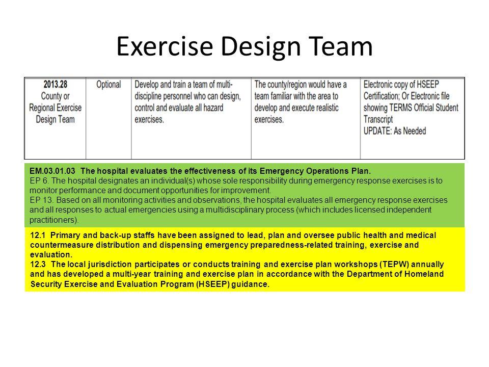Exercise Design Team EM.03.01.03 The hospital evaluates the effectiveness of its Emergency Operations Plan. EP 6. The hospital designates an individua