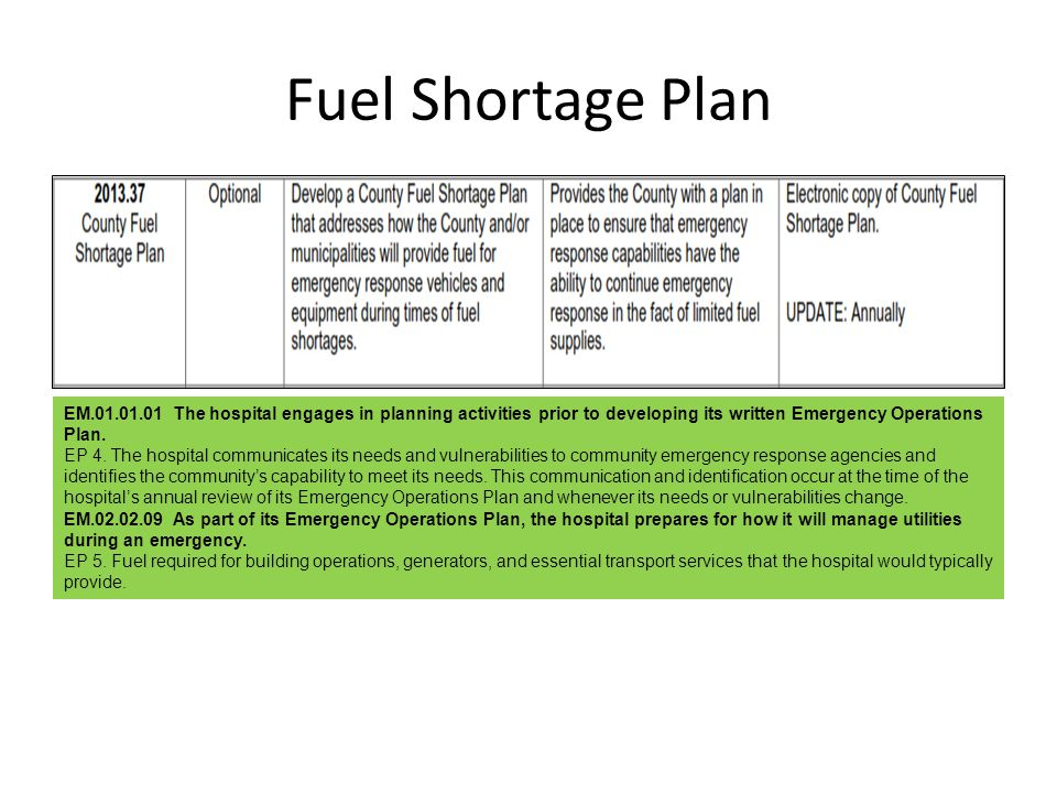 Fuel Shortage Plan EM.01.01.01 The hospital engages in planning activities prior to developing its written Emergency Operations Plan. EP 4. The hospit