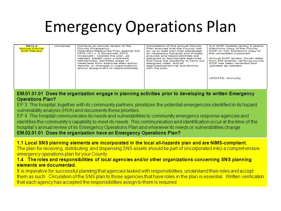 Emergency Operations Plan EM.01.01.01 Does the organization engage in planning activities prior to developing its written Emergency Operations Plan? E