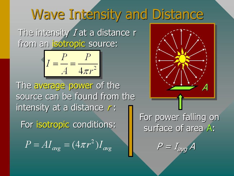 Example 2: A signal received from a radio station has E m = 0.0180 V/m. What is the average intensity at that point? The average intensity is: Note th