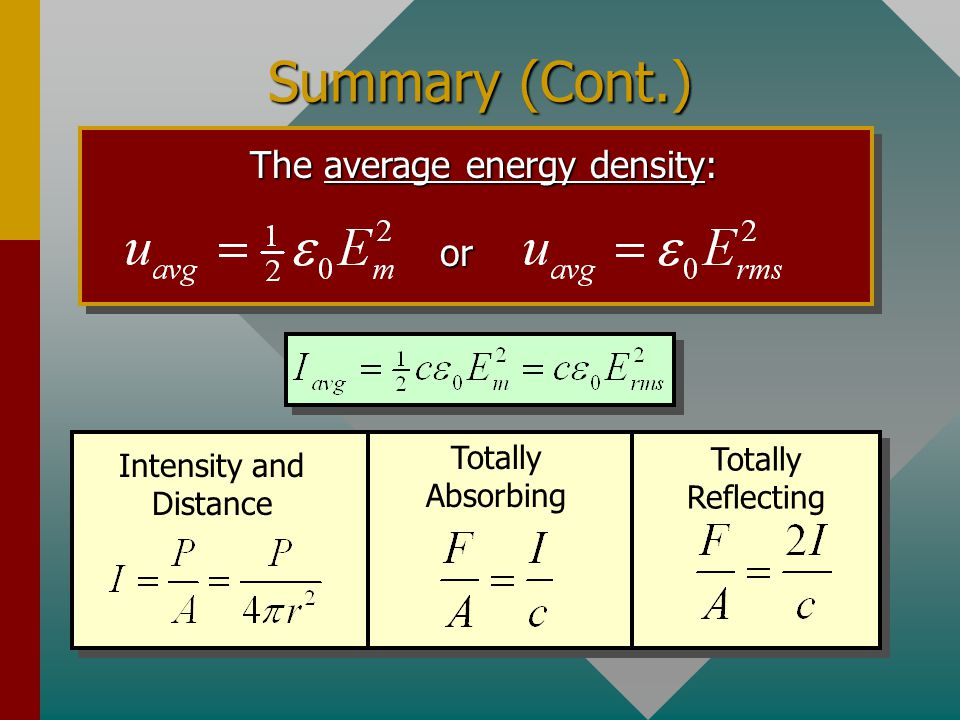 Summary (Cont.) EM-waves travel at the speed of light, which is: c = 3.00 x 10 8 m/s Total Energy Density: