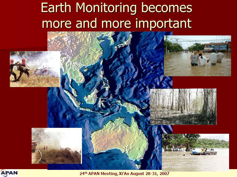 24 th APAN Meeting, Xi'An August 28-31, 2007 Earth Monitoring becomes more and more important