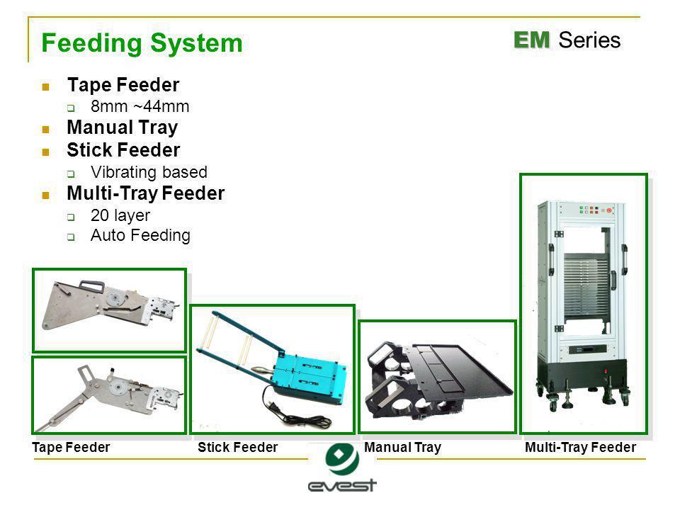EM EM Series Feeding System Tape Feeder  8mm ~44mm Manual Tray Stick Feeder  Vibrating based Multi-Tray Feeder  20 layer  Auto Feeding Tape FeederStick FeederManual TrayMulti-Tray Feeder
