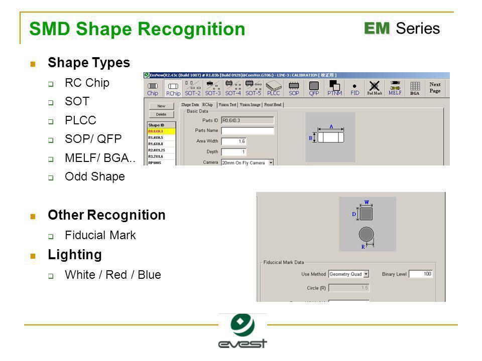 EM EM Series SMD Shape Recognition Shape Types  RC Chip  SOT  PLCC  SOP/ QFP  MELF/ BGA..